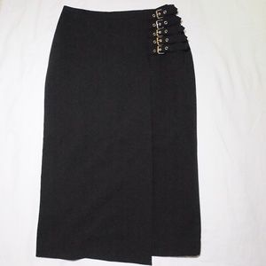 Worthington Black Buckled Skirt Sz4